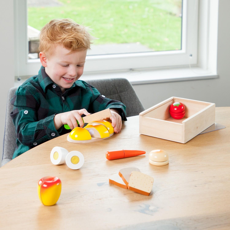 Дървен комплект за рязане- кутия Готови за закуска- аксесоар за детска дървена кухня-дървени играчки(2)-bellamie