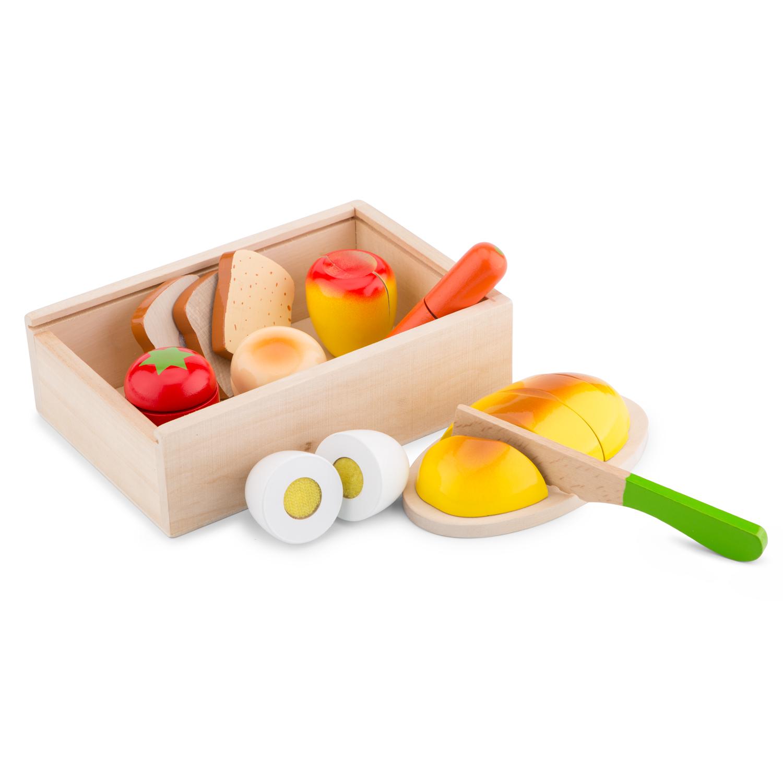 Дървен комплект за рязане- кутия Готови за закуска- аксесоар за детска дървена кухня-дървени играчки(1)-bellamie