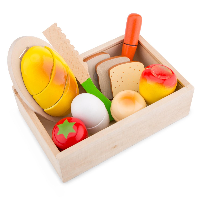 Дървен комплект за рязане- кутия Готови за закуска- аксесоар за детска дървена кухня-дървени играчки-bellamie