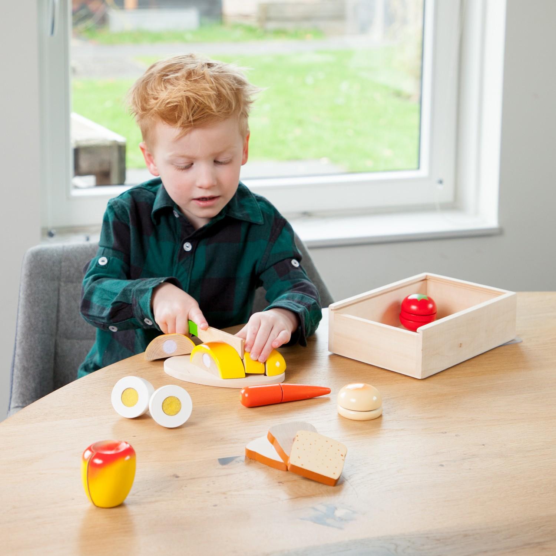 Дървен комплект за рязане- кутия Готови за закуска- аксесоар за детска дървена кухня-дървени играчки(3)-bellamie