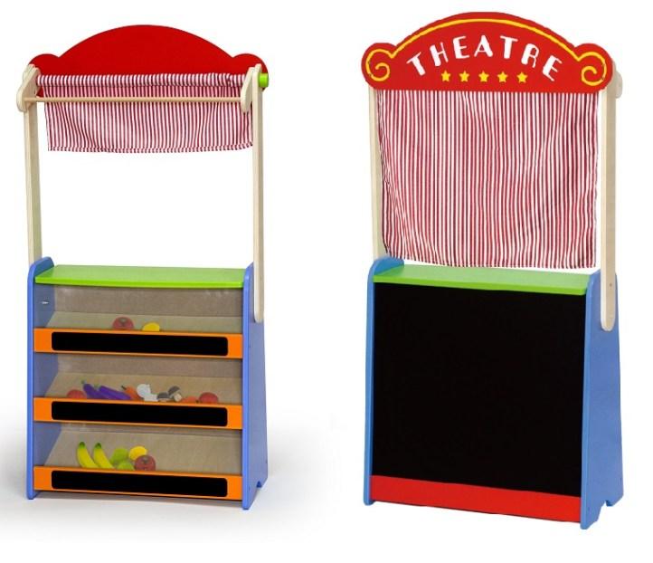 Детска дървена играчка - магазин и театър 2 в 1-bellamie