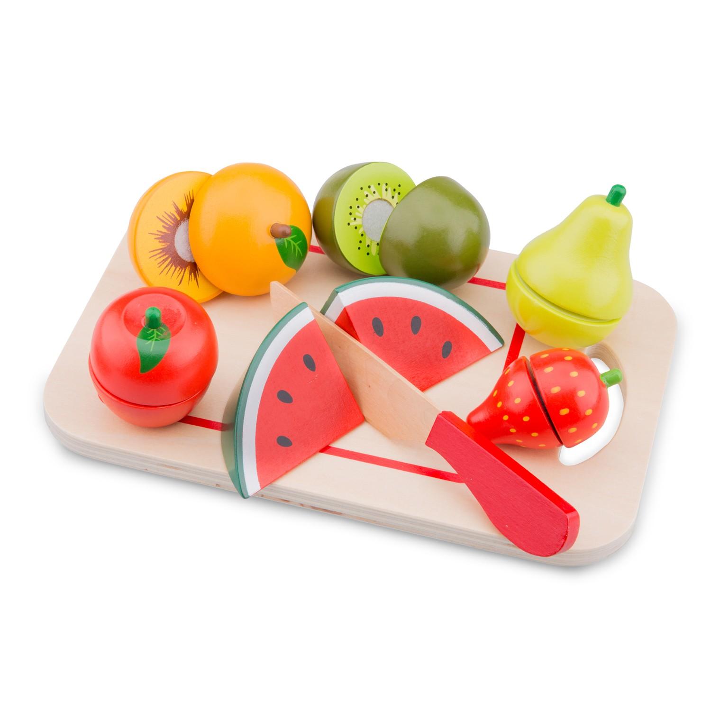 Плодове с дъска за рязане-аксесоар за детска дървена кухня-дървени играчки(1)-bellamie