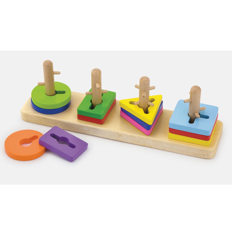Дървен геометричен лабиринт - Дървени кубчета и сортери - Bellamie