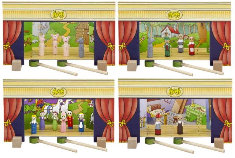 Дървен магнитен театър-образователни играчки-ролеви игри(4)-bellamie