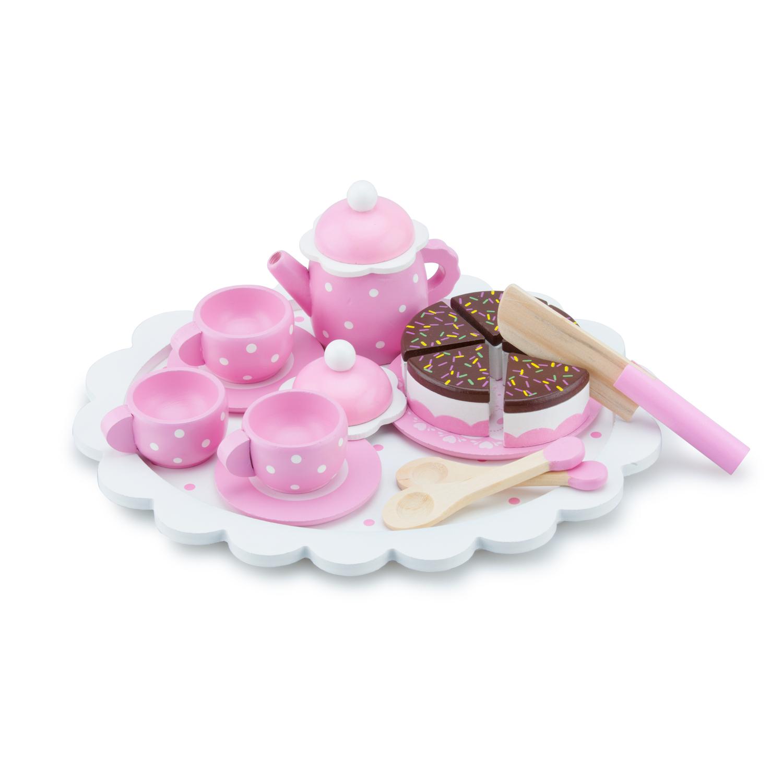 дървена играчка-детски играчки за момичета-детски сервиз за чай с торта-bellamie
