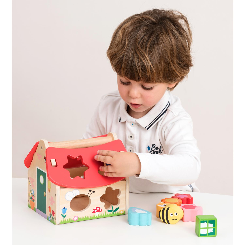 Дървена къщичка за сортиране на форми-bellamiestore