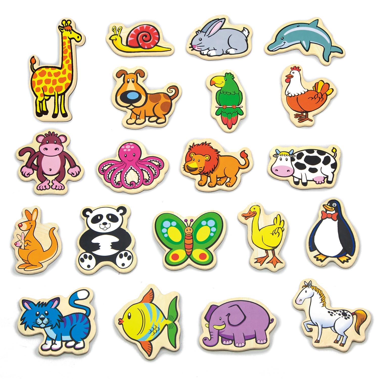 Магнитни животни 20 броя- дървени образователни играчки от Viga toys-(1)-bellamiestore