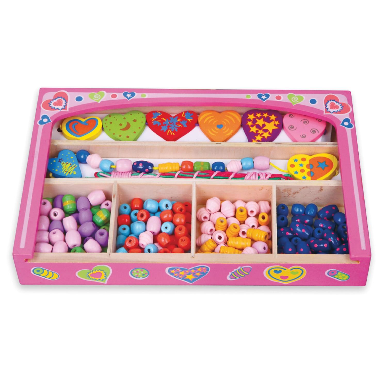 Дървени мъниста-творчески комплект за бижута - детски играчки за момичета от Viga toys-bellamiestore