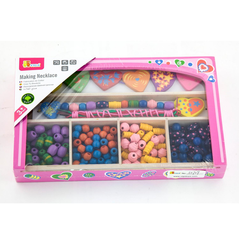 Дървени мъниста-творчески комплект за бижута - детски играчки за момичета от Viga toys(1)-bellamiestore