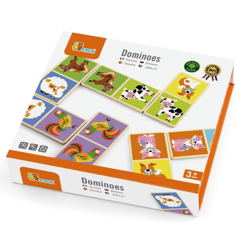 дървено домино с животните от Фермата- дървени образователни играчки от Viga toys-bellamiestore