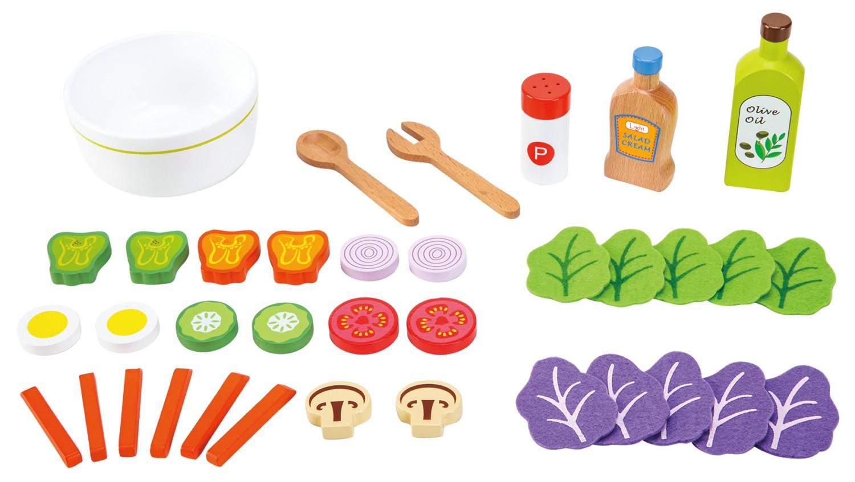 Комплект за правене на салата- аксесоар за детска дървена кухня(1)-bellamie