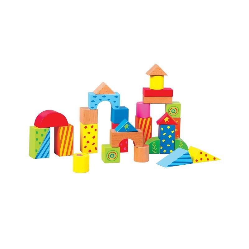 Детска дървена проходилка и конструктор 2 в 1- дървена играчка(3)-bellamie
