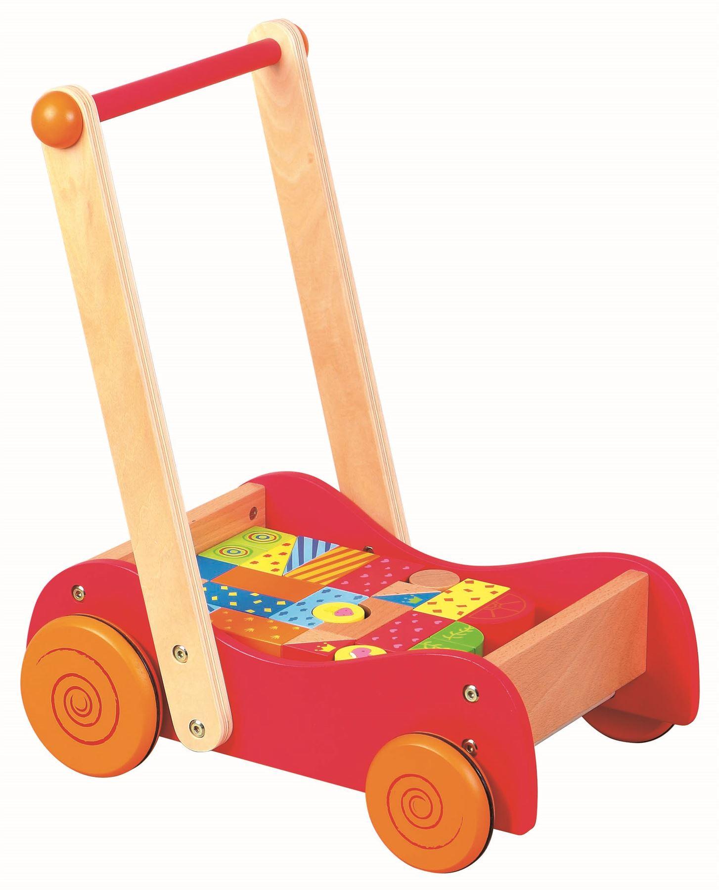 Детска дървена проходилка и конструктор 2 в 1- дървена играчка-bellamie