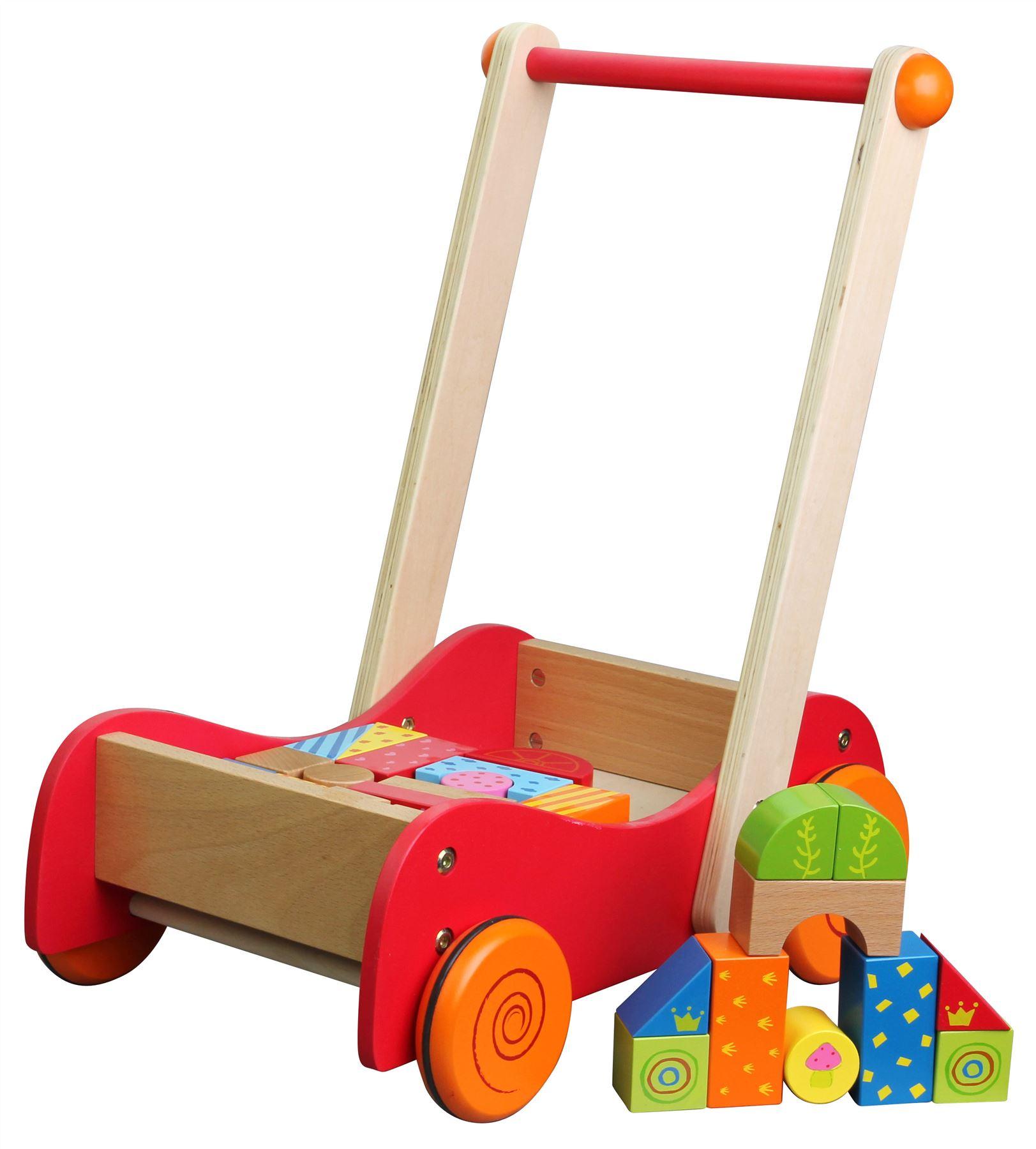 Детска дървена проходилка и конструктор 2 в 1- дървена играчка(2)-bellamie