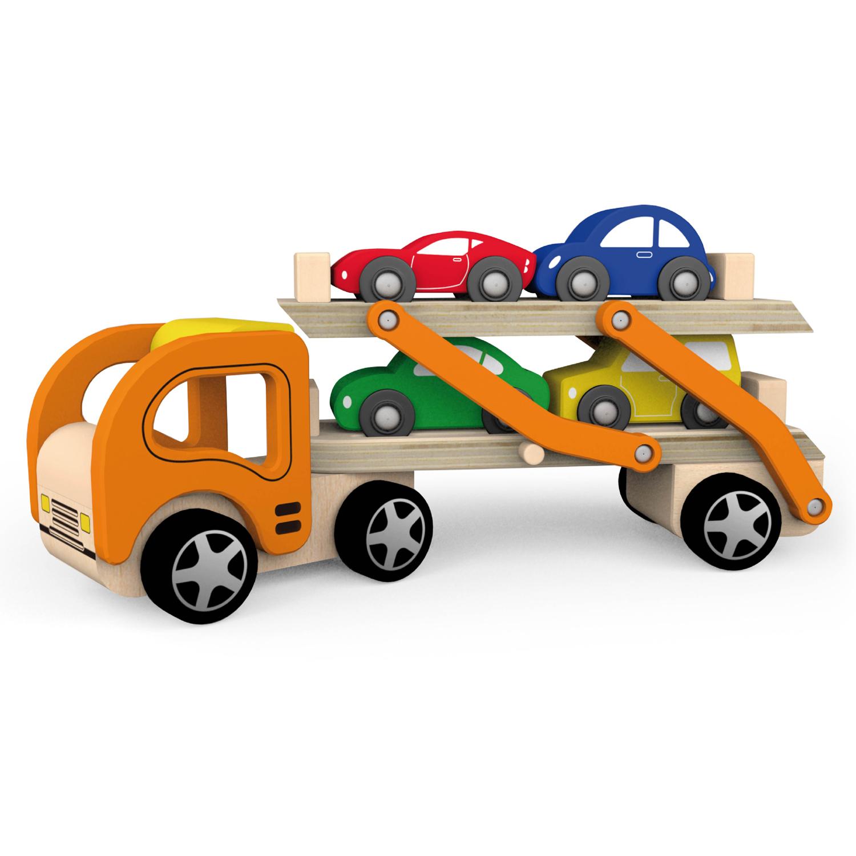 Дървен детски камион - автовоз с четири коли - дървена играчка-bellamie