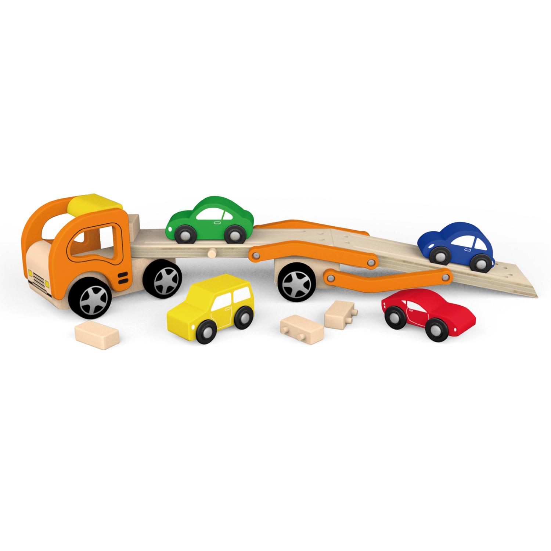 Дървен детски камион - автовоз с четири коли - дървена играчка(1)-bellamie