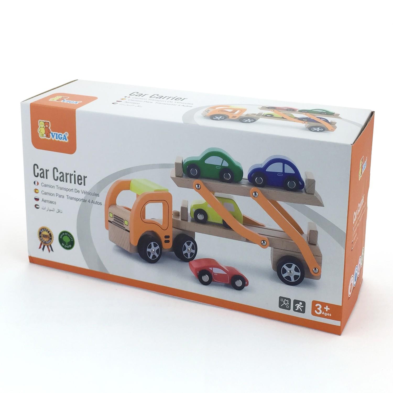 Дървен детски камион - автовоз с четири коли - дървена играчка(2)-bellamie