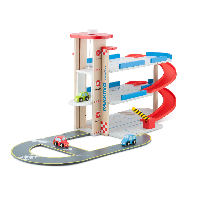 детски играчки за момчета-дървен гараж на три нива от New classic toys-bellamie