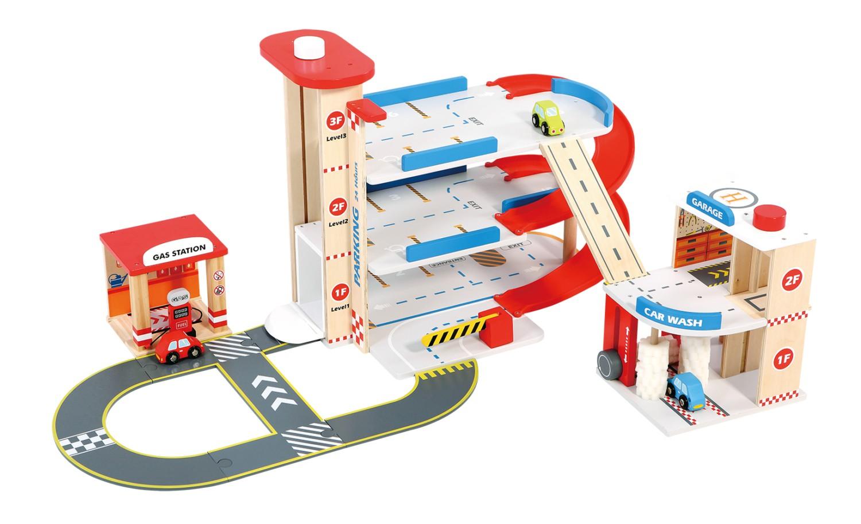 детски играчки за момчета-дървен гараж на три нива от New classic toys(3)-bellamie