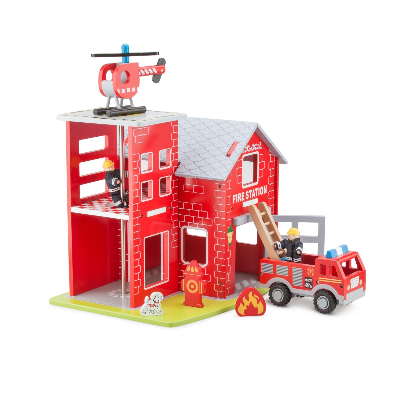 детски играчки за момчета-голяма дървена пожарна станция-bellamie