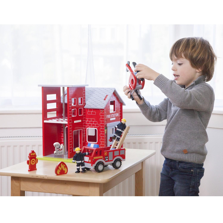 детски играчки за момчета-голяма дървена пожарна станция(1)-bellamie