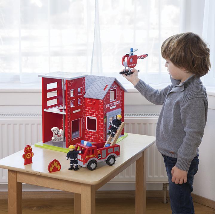детски играчки за момчета-голяма дървена пожарна станция(2)-bellamie