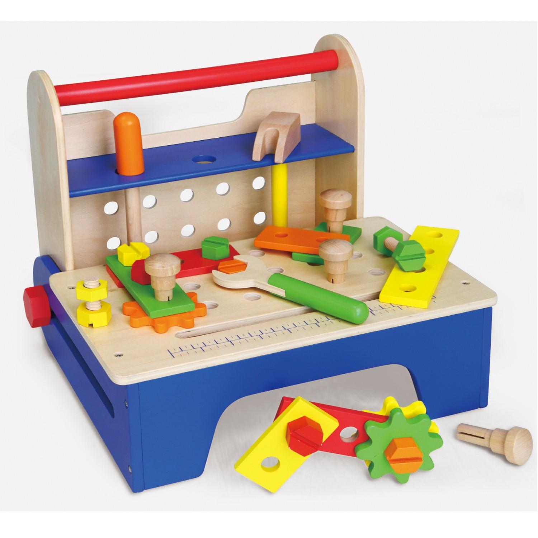 Дървена работилница и работна маса с детски дървени инструменти от Viga toys-bellamie