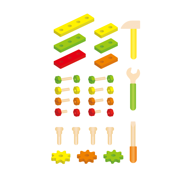 Дървена работилница и съдържание на комплекта от детски дървени инструменти от Viga toys-bellamie