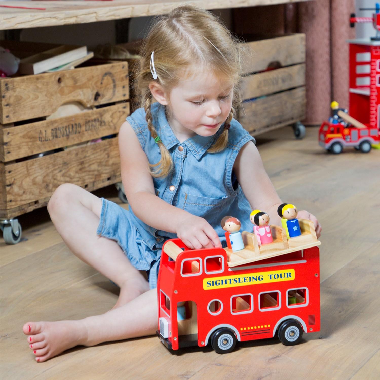 детски кубчета и сортери-дървен автобус за разходка-дървена играчка(2)-bellamie