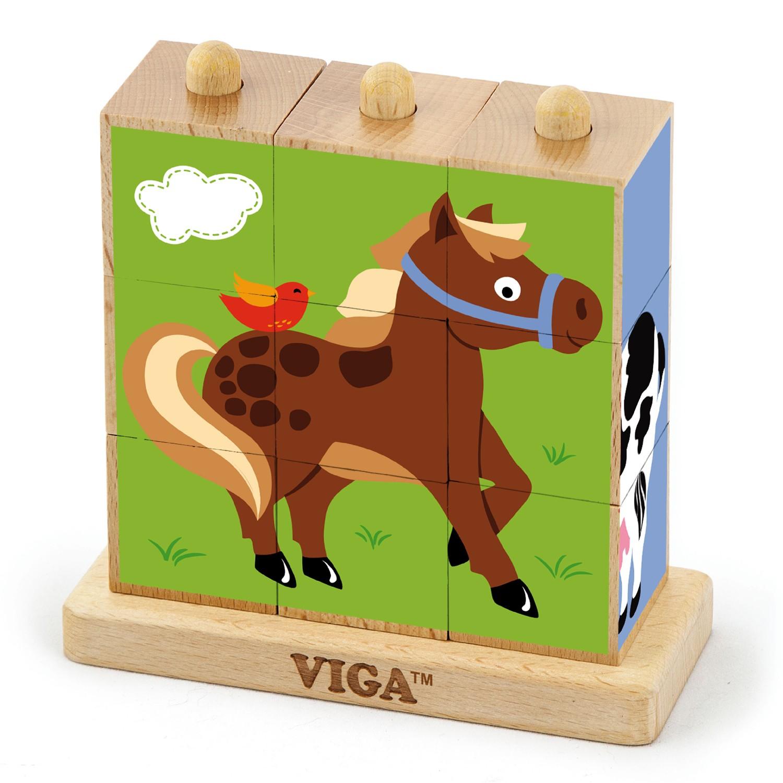 Детски пъзел от дървени кубчета Фермата-Viga toys-Bellamie