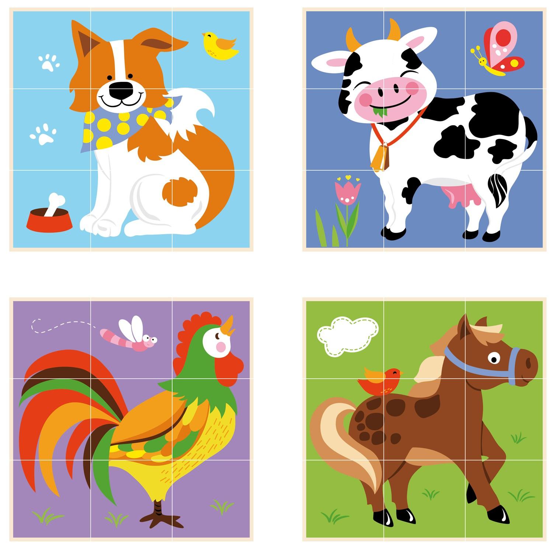 Картинки Детски пъзел от дървени кубчета Фермата-Viga toys-Bellamie