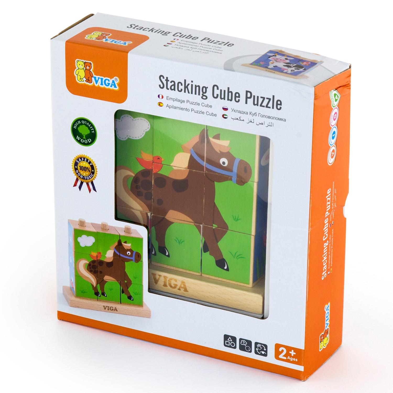 Кутия-Детски пъзел от дървени кубчета Фермата-Viga toys-Bellamie