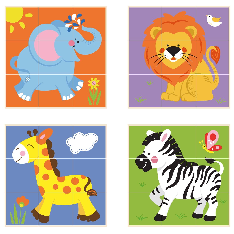 Детски пъзел от дървени кубчета-Сафари-Viga toys-Bellamie