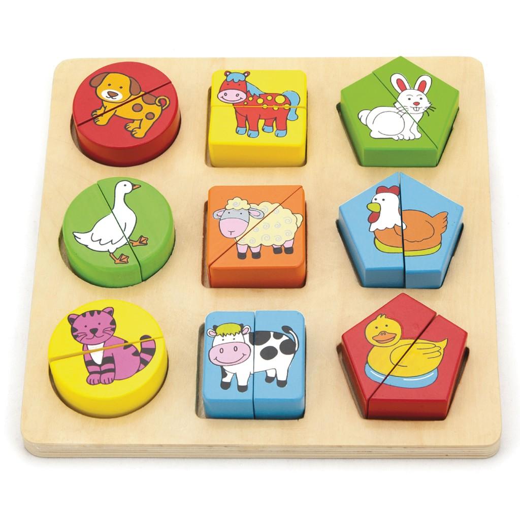 Детски пъзел с геометрични форми-Животни