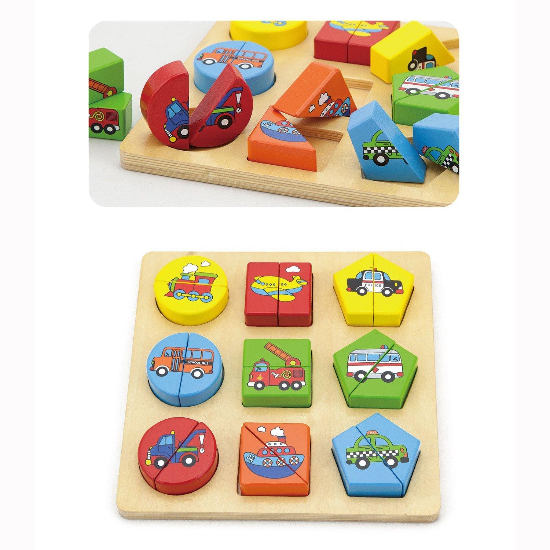 Детски пъзел с геометрични форми-Колите-Viga toys-Bellamie