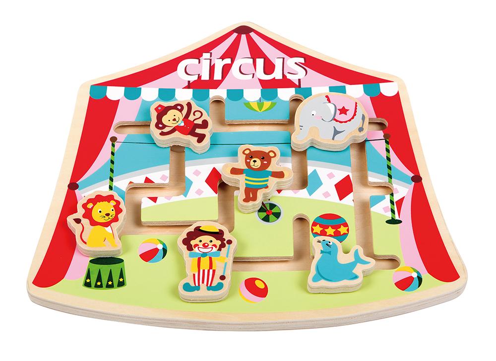 детски пъзел и лабиринт - Цирк - дървена играчка-bellamie