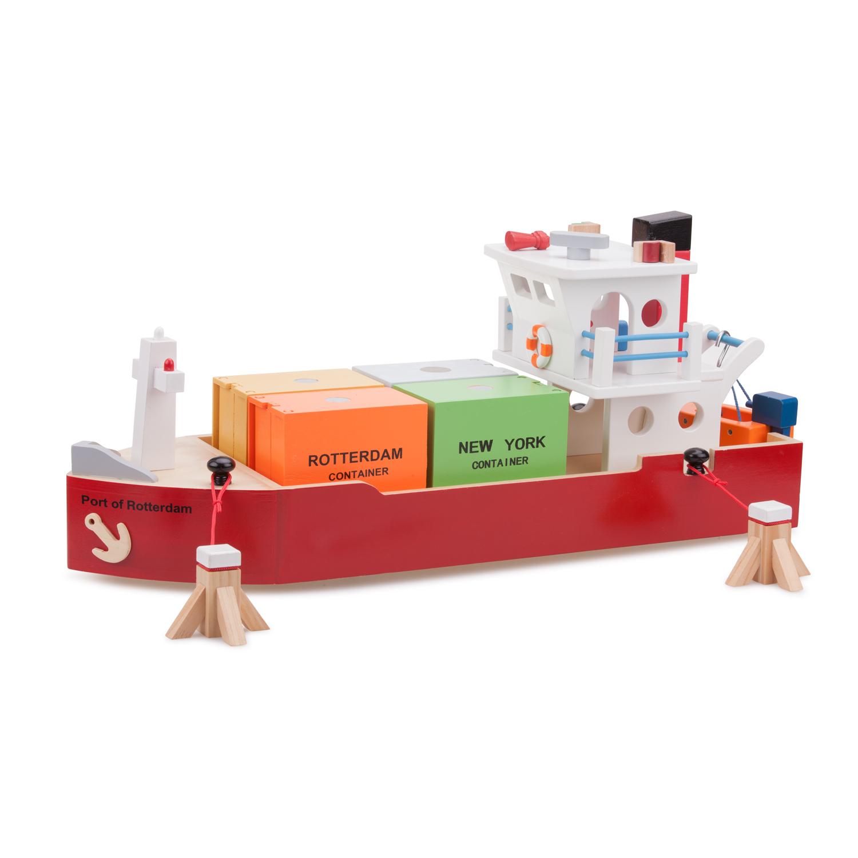 Детски играчки за момчета-дървен товарен кораб-bellamie