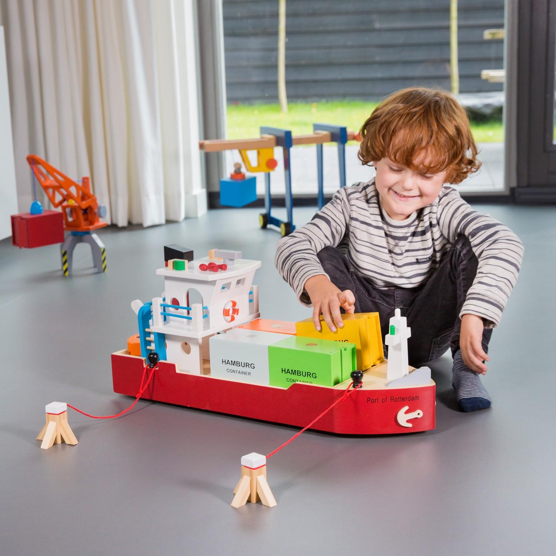 Детски играчки за момчета-дървен товарен кораб(1)-bellamie