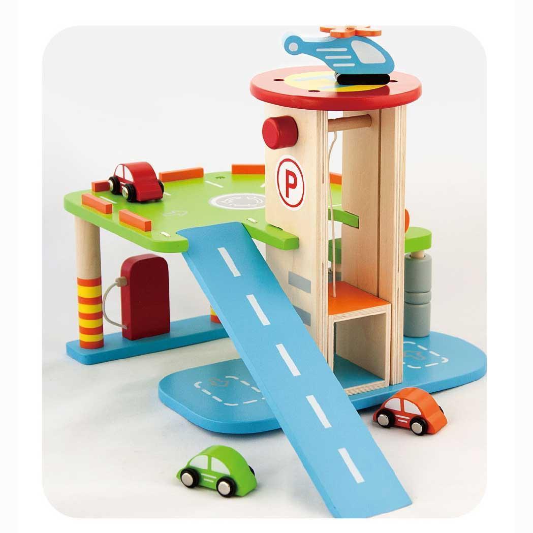 Дървен гараж за коли - детски играчки за момчета(1)-bellamie