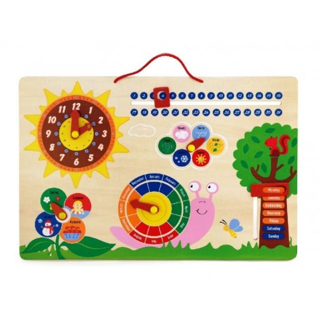 дървен календар и часовник - образователни играчки-bellamie