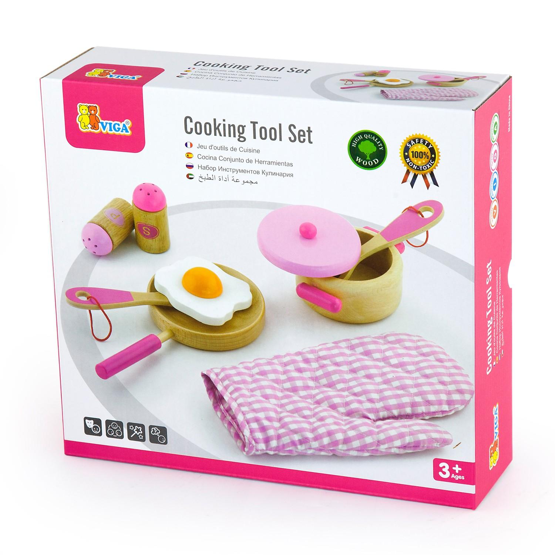 дървен готварски комплект в розово- аксесоар за детска дървена кухня(2)-bellamie