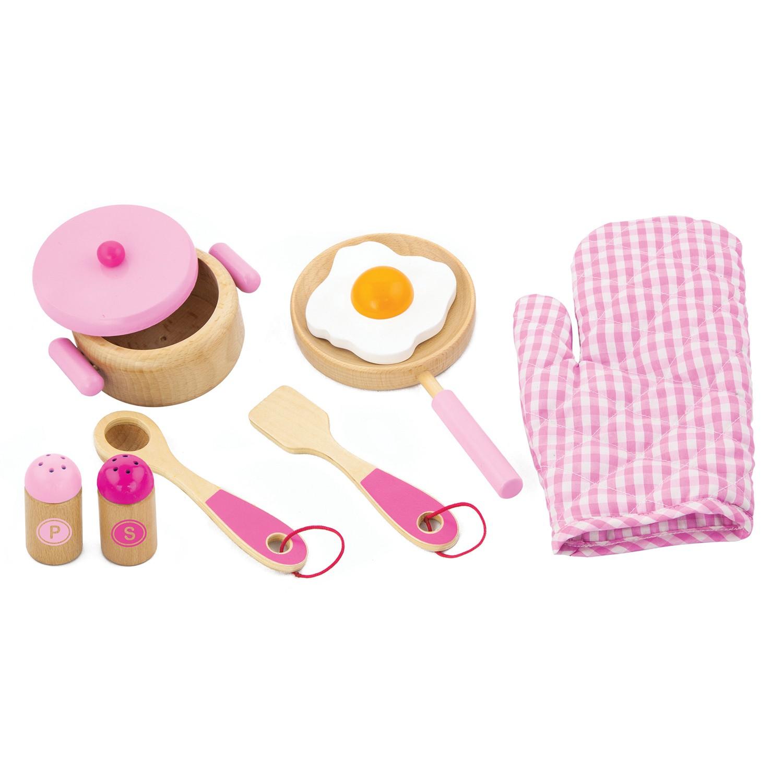 дървен готварски комплект в розово- аксесоар за детска дървена кухня-bellamie