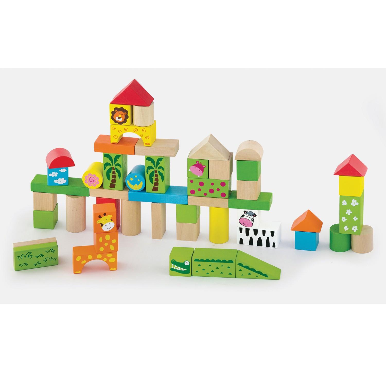 дървен конструктор от 50-части- Джунглата- дървени играчки(1)-bellamie