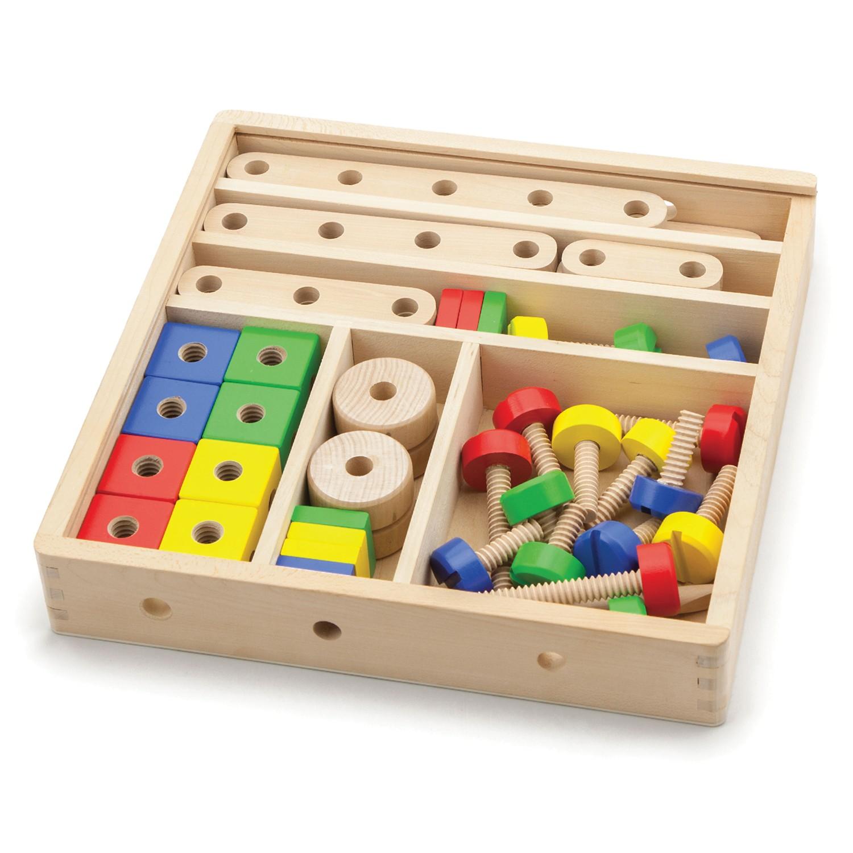 Дървен конструктор с гайки и болтове - 68 части - играчка за момчета(6)-bellamie