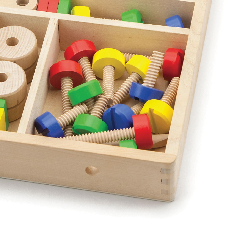Дървен конструктор с гайки и болтове - 68 части - играчка за момчета(7)-bellamie
