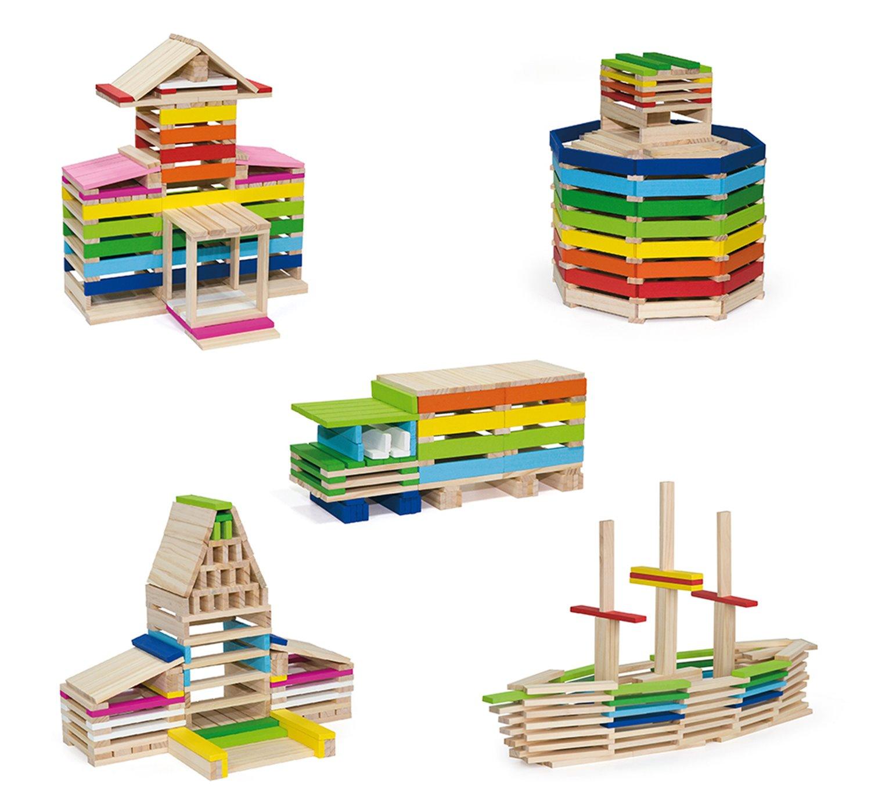 Дървен конструктор построй от 250 дървени блокчета от Vga toys-bellamiestore