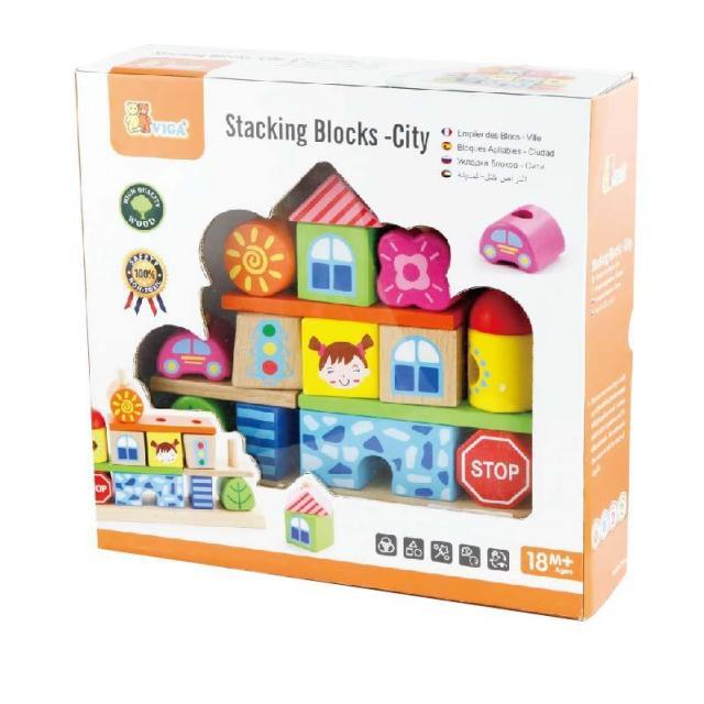 дървен конструктор за нанизване град- дървена играчка от Viga toys-bellamie