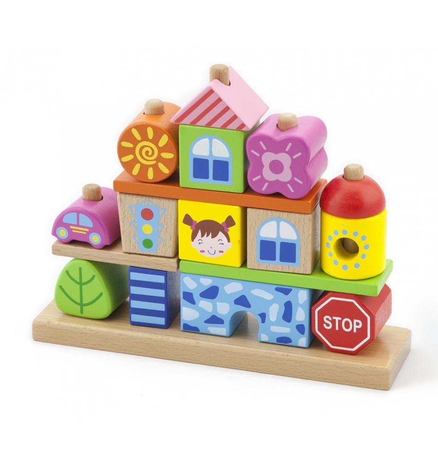 дървен конструктор за нанизване град- дървена играчка от Viga toys(1)-bellamie