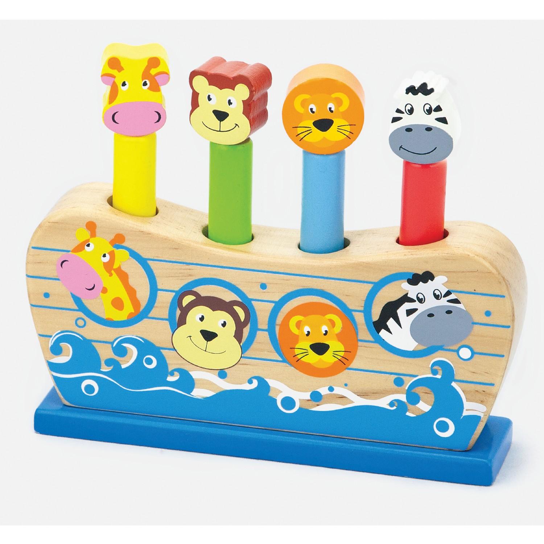 Дървена играчка - Подскачащите животни - бебешки играчки-bellamie