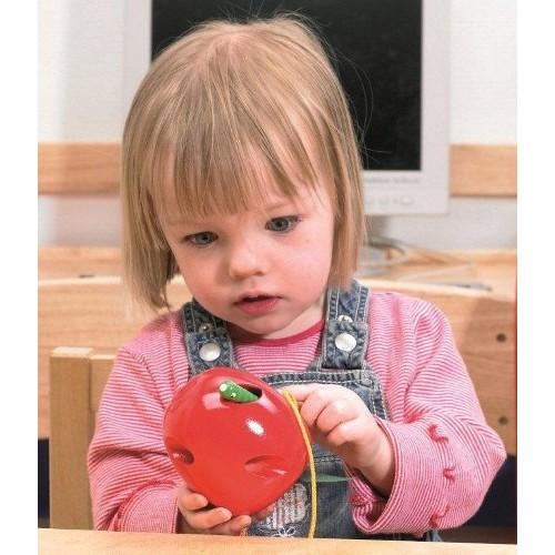 дървена играчка за нанизване - Ябълка- образователни играчки(2)-bellamie